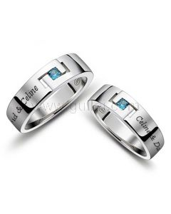 Engraved Couple Promise Rings Set for Men and Women