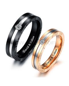 Personalized Matching Promise Rings for Him and Her Set of 2
