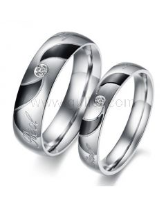 Engraved Titanium Matching Couples Rings Set for Two