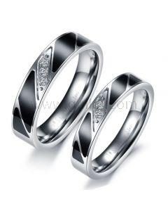 Personalized Engraved Engagement Couples Titanium Rings Set of 2
