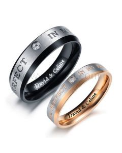 Engraved Promise Rings for Men and Women Set of 2