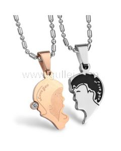 Kissing Couples Necklaces for Girlfriend and Boyfriend with Engraving