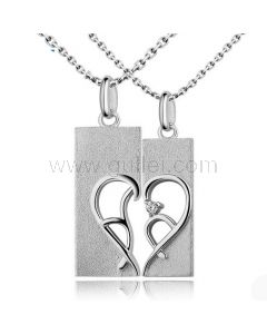Half Heart Promise Necklaces for Couples with Names Set of 2