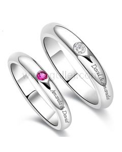 Custom His and Hers Wedding Rings Set for 2