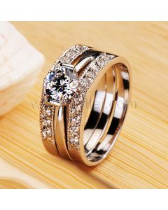 0.6Ct NSCD Diamond Engagement Ring for Women Platinum Plated