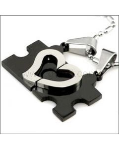 Half Heart Jigsaw Puzzle Couples Necklaces Set for 2