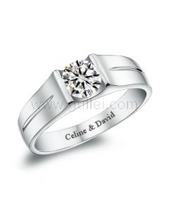 Personalized Mens Engagement Ring Sterling Silver 6mm