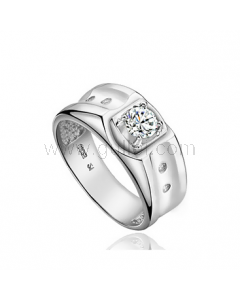 Personalized Mens Engagement Ring 5mm Sterling Silver