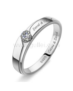 Engagement Ring for Men with Custom Names 4mm