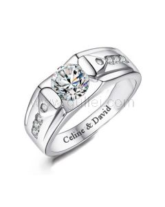 Mens Engagement Ring with Engraving Sterling Silver 7.8mm