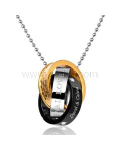 Customized Double Rings Mens Pendant Necklace Gift