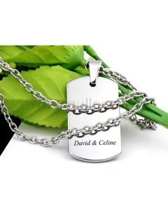 Name Plate Pendant Necklace for Men Valentines Gift