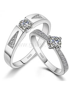 Cubic Zirconia Wedding Bands Set with Customized Engraving