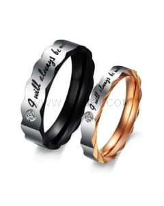 Titanium Couples Promise Rings with Custom Engraving