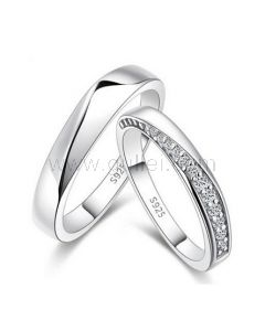 Matching Couple Rings with Custom Engraving Sterling Silver