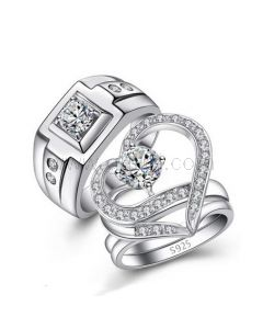 Custom Bridal Wedding Rings Set with Personalized Engraving