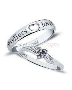 Endless Love Promise Rings with Custom Engraving Cubic Zirconia