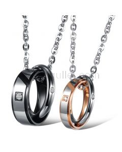 Double Ring Pendant Perfect Couples Necklaces Gift for 2