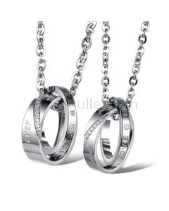 Double Rings Couple Necklaces Set with Engraving
