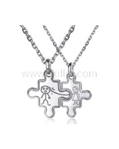 Engraved Sterling Silver Jigsaw Puzzle Couple Necklaces Set