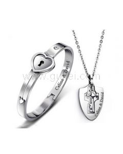 Personalized Lock and Key Bracelet Necklaces Anniversary Gift