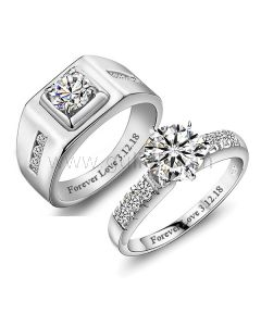Engraved 1.4 Carat Diamond Celebrity Wedding Bands for Two