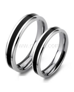 Engraved His and Hers Wedding Bands Set Titanium Steel