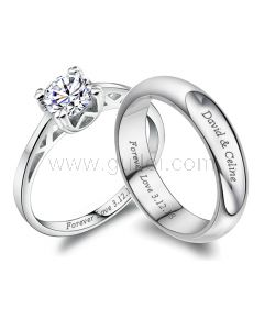 His and Hers Diamond Engagement Rings with Engraving