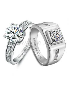 Name Engraved 2 Carat Diamond Engagement Rings for Two