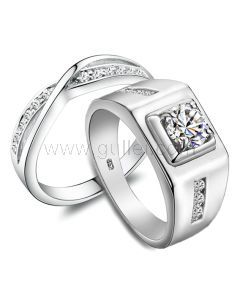 Custom Names 0.85 Carat Synthetic Diamond His and Hers Engagement Rings