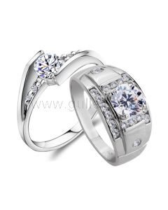 Personalized His Hers 0.6 Carat Synthetic Diamond Silver Engagement Rings