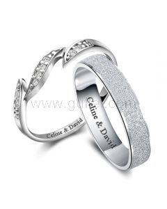 Names Engraved Silver Men and Women Unique Wedding Bands