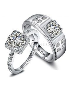Custom 2 Carat Diamond Matching Engagement Rings for Couples