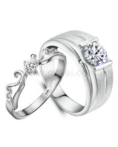 Names Engraved Anniversary Rings Set for Two Sterling Silver