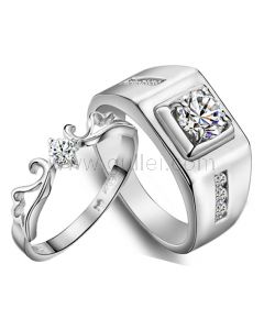 Engraved 1 Carat Synthetic Diamond Celebrity Wedding Bands for Couples