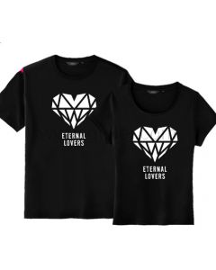 Matching Diamond Heart Love Couple T Shirt Pair for Two