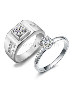0.65 Carat Diamond His and Hers Wedding Bands Set for 2