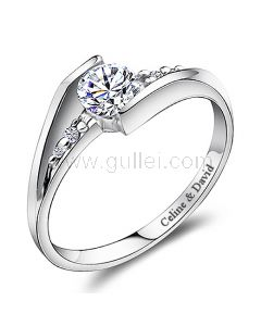 0.6 Carat Diamond Name Engraved Promise Ring for Her 4.5mm