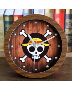 Unique Small Wooden Danger Skull Table Clock Gift for Him