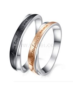 925 Sterling Silver France Amour Custom Name Couples Rings for Two