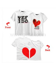 His and Hers Just Married Couple T Shirts Split Heart Set of 2