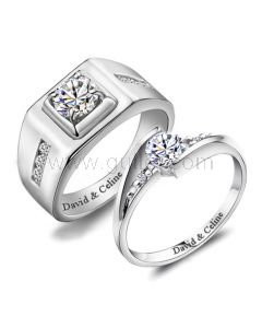 1.3 Carat Synthetic Diamond Personalized Wedding Bands Sterling Silver