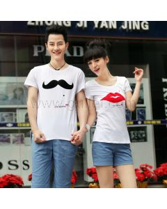 His and Her Cheap Couples T Shirts Lips and Mustache Set of 2