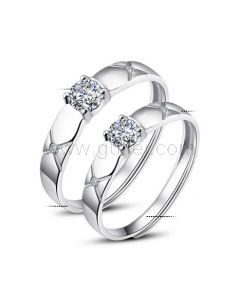 Adjustable Size 925 Sterling Silver Zircon Diamond Engraved Promise Rings for Couples