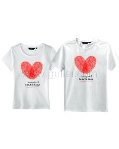 Unique Thumb Impressions Matching Hearts Valentines Couples T Shirts for 2