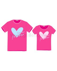 Matching Pair of Cute Hearts Pink and Black T Shirts for Couples
