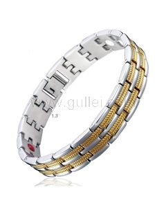 24K Gold Plated Magnetic Therapy Mens ID Bracelet with Engraving