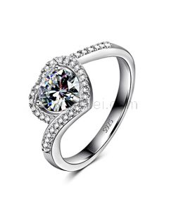 NSCD Diamond Engraved Heart Shaped Engagement Ring for Her 6.4mm