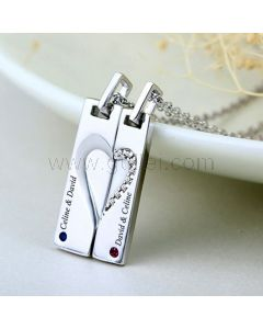 Engraved Magnetic Hearts Girlfriend Boyfriend Necklaces Set for 2