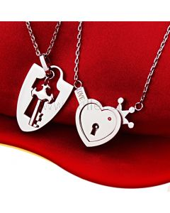 Engraved Real Lock and Key Heart Lovers Matching Necklaces Set for 2